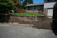 backfill 3/4- and soil mulch for frount yard wall